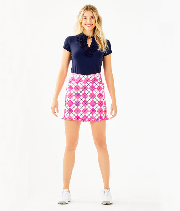 "17"" Monica Golf Skort - UPF 50+, Pink Tropics Glow And Flow Argyle, large"