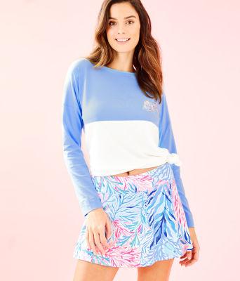 "UPF 50+ 13"" Luxletic Meryl Nylon Aila Skort, Crew Blue Tint Kaleidoscope Coral, large 0"