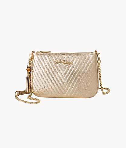 Quilted Leather Cruisin Crossbody Bag, Gold Metallic, large