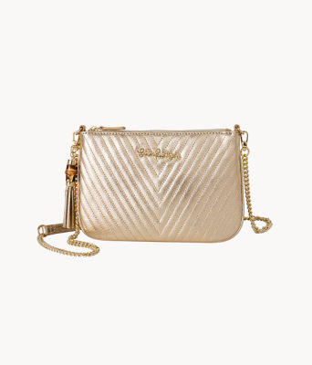Quilted Leather Cruisin Crossbody Bag, Gold Metallic, large 0