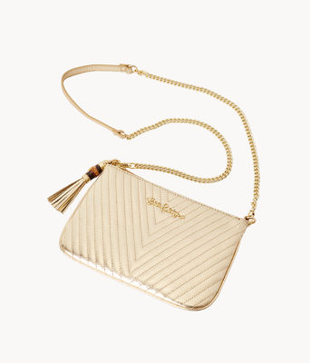 Quilted Leather Cruisin Crossbody Bag, Gold Metallic, large 2