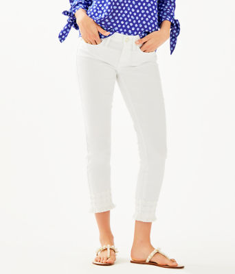 """28"""" South Ocean Skinny Cropped Pant With Lace, Resort White, large 0"""