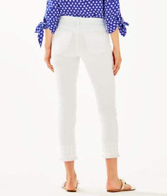 """28"""" South Ocean Skinny Cropped Pant With Lace, Resort White, large"""