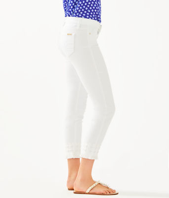 """28"""" South Ocean Skinny Cropped Pant With Lace, Resort White, large 2"""