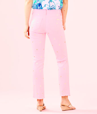 "28"" South Ocean Crop Flare Pant, Pink Tropics Tint Polka Dot Jean, large 1"