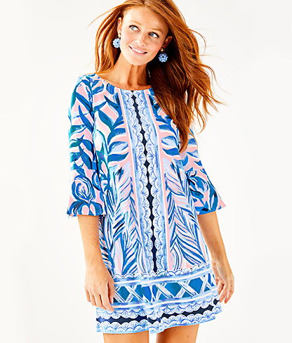 Ophelia Dress, Pink Tropics Tint Heat Wave Engineered Dress Front, large 0