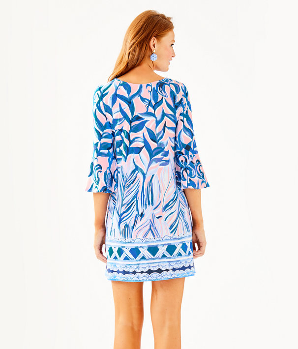 Ophelia Dress, Pink Tropics Tint Heat Wave Engineered Dress Front, large