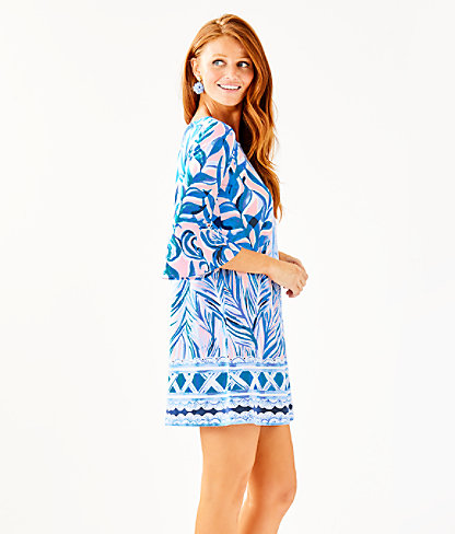 Ophelia Dress, Pink Tropics Tint Heat Wave Engineered Dress Front, large 2