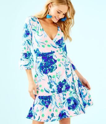 Misha Wrap Dress, Pink Tropics Tint Sweet Pea, large 0
