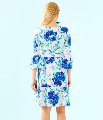 Misha Wrap Dress, Pink Tropics Tint Sweet Pea, large 1