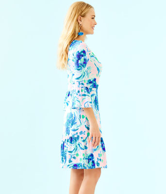 Misha Wrap Dress, Pink Tropics Tint Sweet Pea, large 2