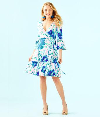 Misha Wrap Dress, Pink Tropics Tint Sweet Pea, large 3