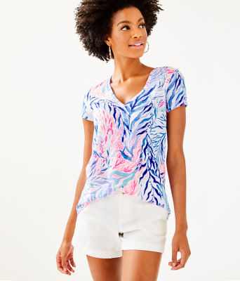Etta Top, Crew Blue Tint Kaleidoscope Coral, large