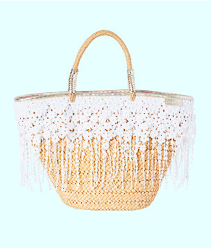 Ivy Straw Tote Bag, Natural, large