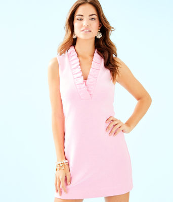 Tisbury Shift Dress, Pink Tropics Lucky Catch Stripe, large