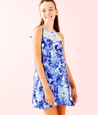 Girls Mini Pearl Shift Dress, Coastal Blue Catch N Keep Small, large