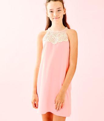 Girls Mini Pearl Shift Dress, Coral Reef Tint, large