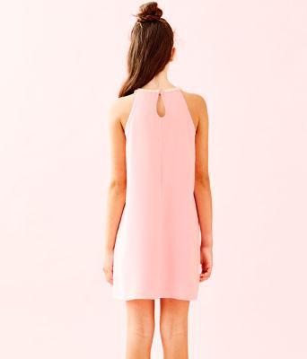 Girls Mini Pearl Shift Dress, Coral Reef Tint, large 1