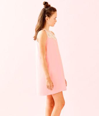Girls Mini Pearl Shift Dress, Coral Reef Tint, large 2