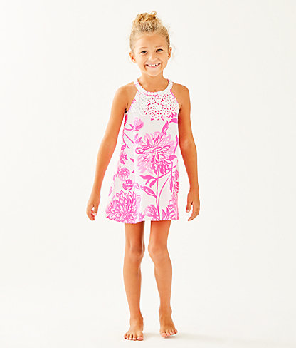 Girls Mini Pearl Shift Dress, Resort White Caliente, large 0
