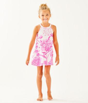 Girls Mini Pearl Shift Dress, Resort White Caliente, large 0