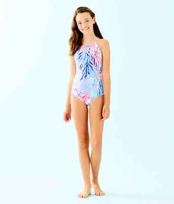UPF 50+ Girls Juliet One-Piece Swimsuit, Crew Blue Tint Kaleidoscope Coral, large 2