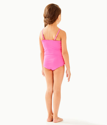 UPF 50+ Girls Juliet One-Piece Swimsuit, Pink Tropics Sway This Way Eng Kids Swim, large 1