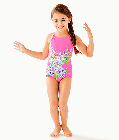 UPF 50+ Girls Juliet One-Piece Swimsuit, Pink Tropics Sway This Way Eng Kids Swim, large 2