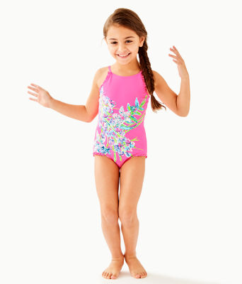 UPF 50+ Girls Juliet One-Piece Swimsuit, Pink Tropics Sway This Way Eng Kids Swim, large