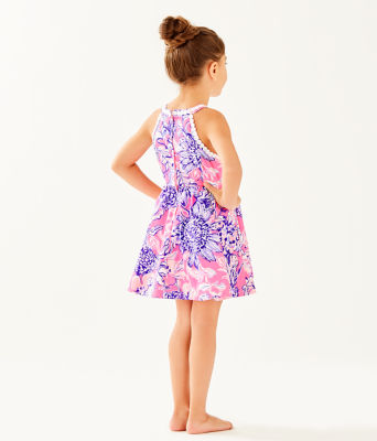 Girls Little Kinley Dress, Pink Tropics Sun Drenched, large 1