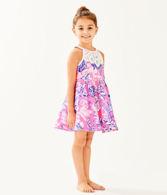 Girls Little Kinley Dress, Pink Tropics Sun Drenched, large 2