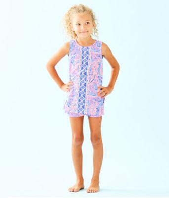 Girls Mini Donna Set, Coastal Blue Maybe Gator Engineered Kids Romper, large 0