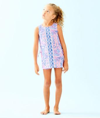 Girls Mini Donna Set, Coastal Blue Maybe Gator Engineered Kids Romper, large 2