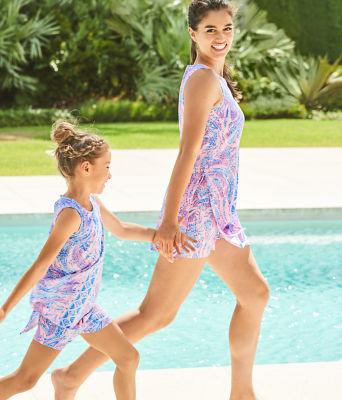Girls Mini Donna Set, Coastal Blue Maybe Gator Engineered Kids Romper, large