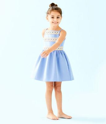 Girls Elize Dress, Blue Peri, large