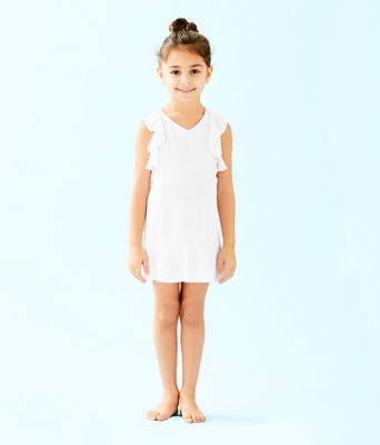 UPF 50+ Girls Mini Rally Tennis Dress, Resort White Nylon Tennis Monkey Knit Jacquard, large 0