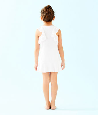 UPF 50+ Girls Mini Rally Tennis Dress, Resort White Nylon Tennis Monkey Knit Jacquard, large 1