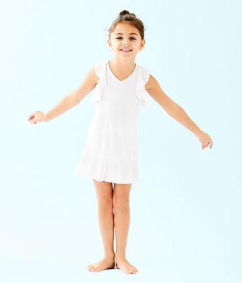 UPF 50+ Girls Mini Rally Tennis Dress, Resort White Nylon Tennis Monkey Knit Jacquard, large