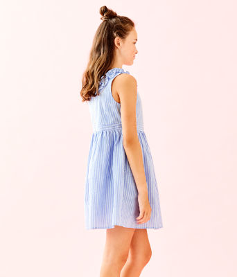 Girls Georgina Dress, Coastal Blue Seersucker, large