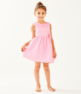 Girls Georgina Dress, Pink Tropics Seersucker, large 0