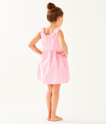 Girls Georgina Dress, Pink Tropics Seersucker, large 1