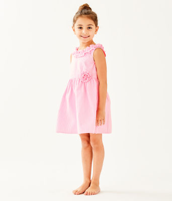 Girls Georgina Dress, Pink Tropics Seersucker, large 2