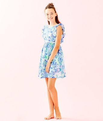 Girls Madelina Dress, Coastal Blue Lion Around, large 3