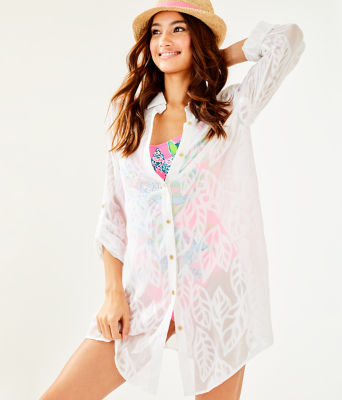 Natalie Shirtdress Cover-Up, Resort White Vertical Leaf Poly Crepe Clip Jacquard, large