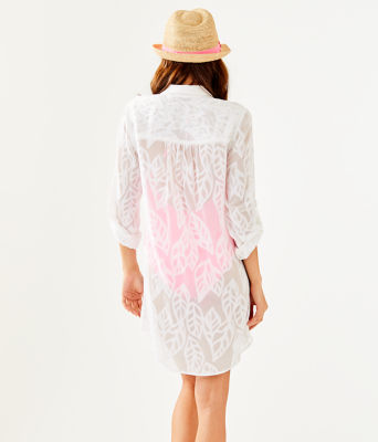 Natalie Shirtdress Coverup, Resort White Vertical Leaf Poly Crepe Clip Jacquard, large