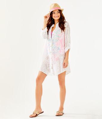 Natalie Shirtdress Cover-Up, Resort White Vertical Leaf Poly Crepe Clip Jacquard, large 2