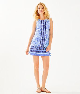 Mila Stretch Shift Dress, Blue Peri Turtley Awesome Engineered Dress, large