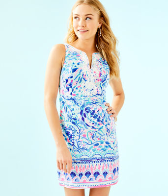 Gabby Shift Dress, Breakwater Tint Party Wave Engineered Shift, large 0