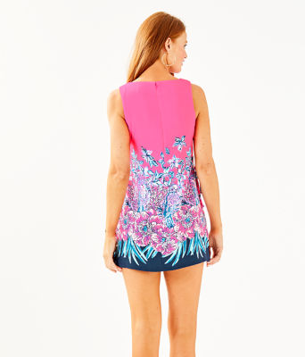 Donna Romper, Pink Tropics Lucky Lady Engineered Romper, large 1
