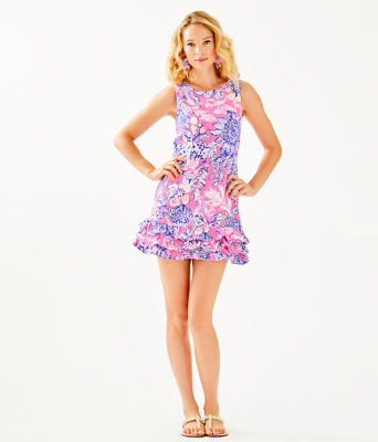 Marla Romper, Pink Tropics Sun Drenched, large